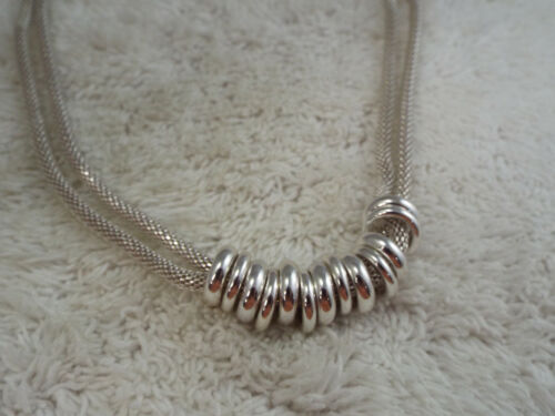 Silvertone Mesh Chain Rings Necklace (C79)
