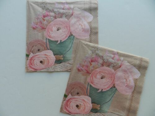 2 (Two) Single Lunch Size Paper Napkins Decoupage Craft Pink Flowers Bouquet
