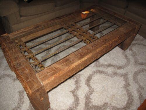 OOAK RUSTIC COFFEE TABLE Wrought Iron Gate/Fence, Glass, Railroad Ties, HANDMADE