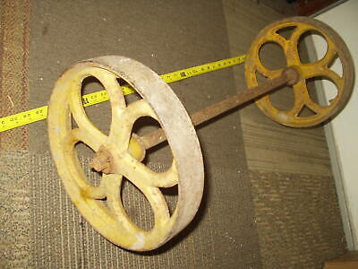 Vintage Cast Iron 12 Wheels  Axle For An Antique Hit Miss Gas Engine Steam