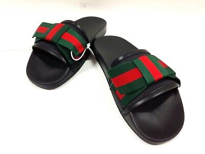 Auth GUCCI Shelly 498316 Black Green Red Satin Rubber Sandals Women