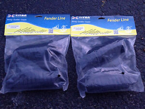 SET OF 4 BRAND NEW BLACK BOAT FENDER LINES