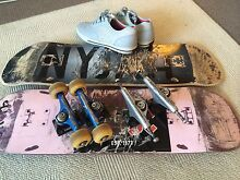 skateboards and trucks X 2 with free size 9 shoes