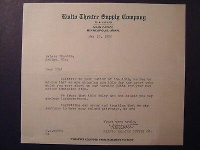 Movie Letterhead Rialto Theatre Supply 1920 Ship Box Office Admission Sign - Movie Theater Supplies