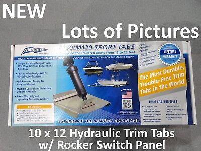 Hydraulic Trim Tab (NEW Bennett 12x10 Hydraulic Trim Sport Tab System w/ Switch Kit Marine Boat)