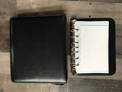 Black Unstructured Leather Franklin Covey Plannerbinder 7 Seven 1 Inch Rings