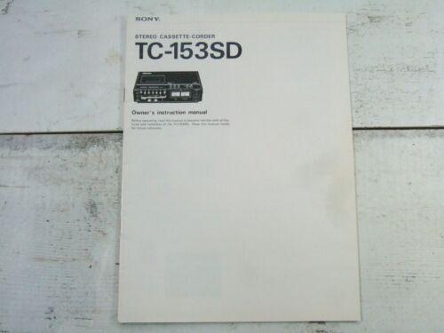 Vtg Sony Stereo Cassette Corder TC-153SD Owner Manual Guide Instructions