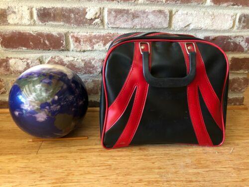 Planet Earth undrilled bowling ball, vintage bag, vintage wrist braces