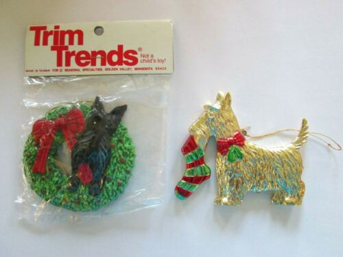 2 Vintage SCOTTIE Scottish Terrier Dog Christmas Ornaments
