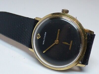 VTG Waltham Men's Wrist Watch Black Wind Up France Leather Band