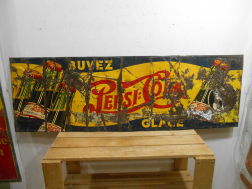 """RUSTY OLD 1940 PEPSI COLA DOUBLE DOT LARGE 52"""" X 17"""" SODA POP BOTTLES TIN SIGN"""