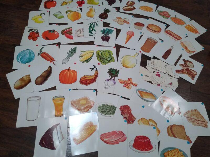 Peabody Language Development kit flash card cards lot food vtg 1965 fruit craft