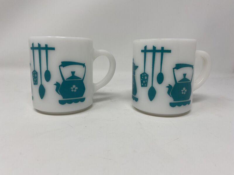 Vintage Hazel Atlas 50s Milk Glass Turquoise Blue Kitchen Aids Utensil Mugs Cups
