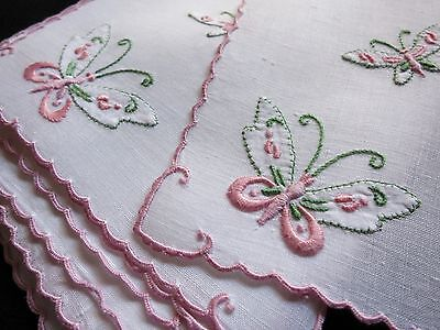 BUTTERFLIES Vintage Madeira Hand Embroidery 12 Cocktail Napkins Scalloped PRETTY
