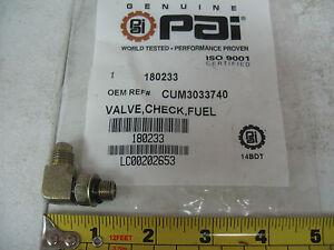 90° Elbow Fuel Gear Pump Check Valve for Cummins N14. PAI # 180233 Ref.# 3033740