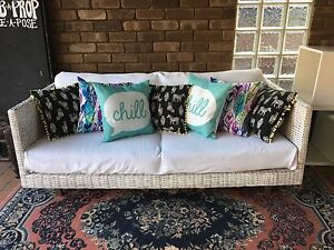 Rustic wicker rattan shabby chic outdoor lounge sofa couch Woodlands Stirling Area Preview