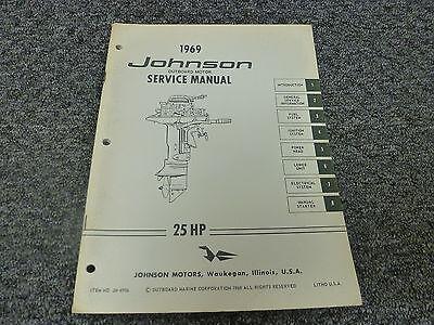 1969 Johnson 25 HP Models Outboard Motor Shop Service Repair Technical Manual