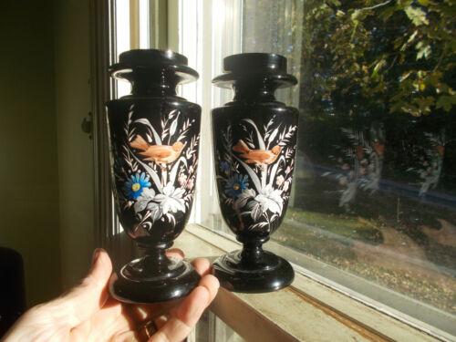 PAIR 1870s BLACK AMETHYST BRISTOL GLASS VASES HAND PAINTED BIRDS & FLOWERS PAIR