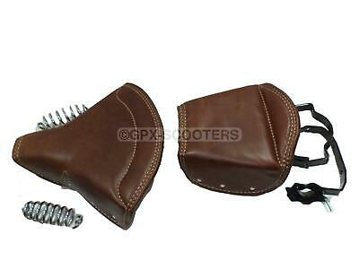NEW PURE LEATHER SADDLE SEAT FOR BSA NORTON TRIUMPH ROYAL ENFIELD STAN