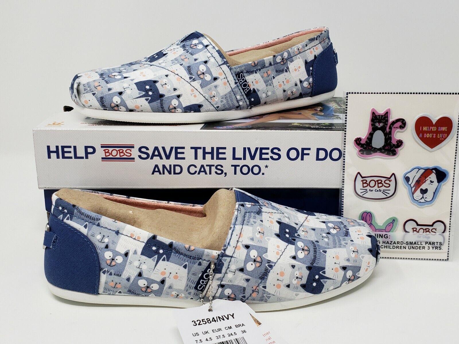 NIB Womens BOBS Skechers Kitty Jam Cat Shoes Flats Memory Foam Navy Sz 7.5 8 8.5