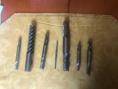 Double End Mill 7 Bit Lot Machinist Tool Shear Cutter Weldon Morse Acculead