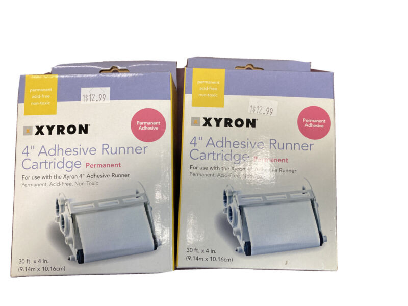 2- 4 Inch Curing Adhesive Tape Runner Cartridge Removable Adhesive. NEW In Box