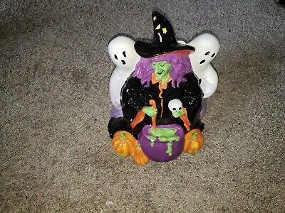 Mrs.Fields Witch And Ghost Cookie Jar Halloween Decoration