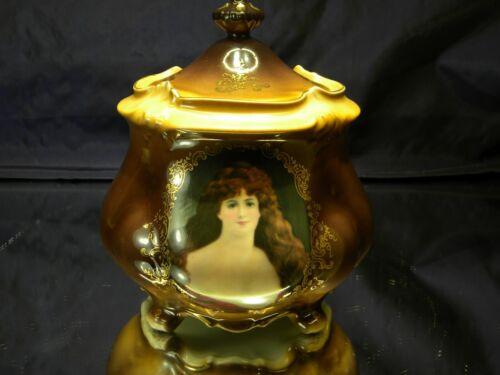Fleur-de-Lys Biscuit Jar Lidded Gold Detail Victorian Lady Portrait
