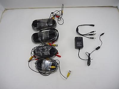 NEW LOT OF 4 Black 2x 60ft 2x 100ft Security Camera Power Cable Wire w/ Splitter