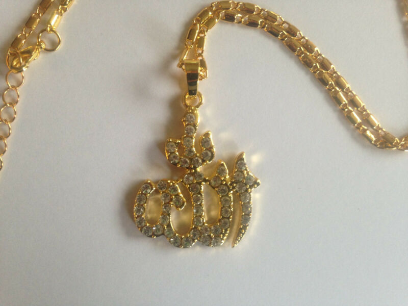 Islamic God Allah Muslim pendant necklace gold colored stainless steel