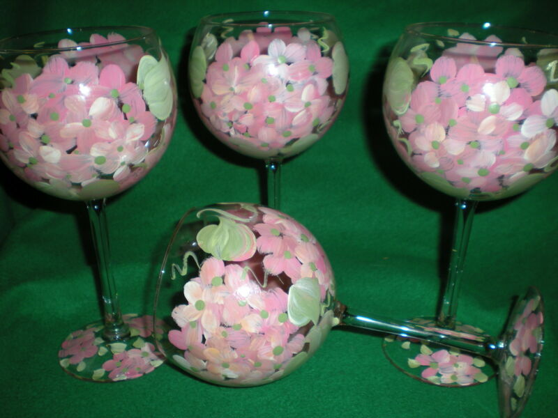 HAND PAINTED PINK HYDRANGEA 19 OUNCE GOBLETS/ SET/4(MADE IN THE USA)