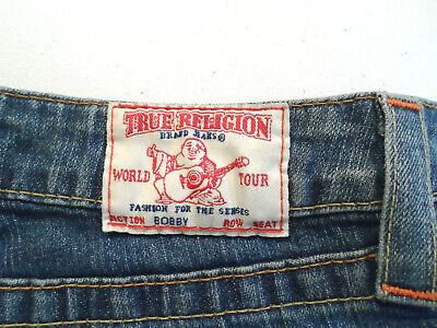 True Religion Women's Bobby Jeans Size 24x34 Navy Flare Stretch Denim USA Made