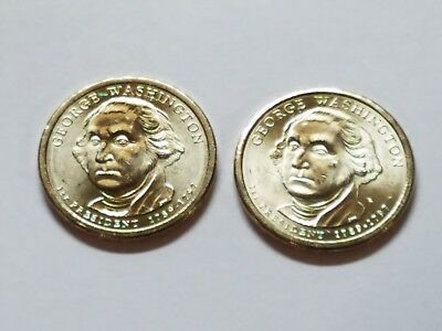 2 Coin Set Both 2007 P George Washington Presidential Gold Dollars. Denver Mint  - Gold Washington Coin Set