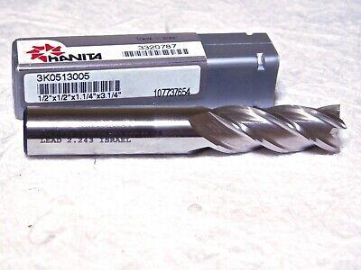 Hanita Powdered Metal Sq Finishing End Mill 12 Dia 4fl 3.25 Oal 3k0513005