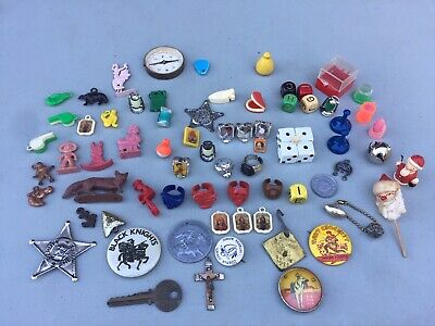 Vintage old gumball machine prizes rings charms metal & plastic used