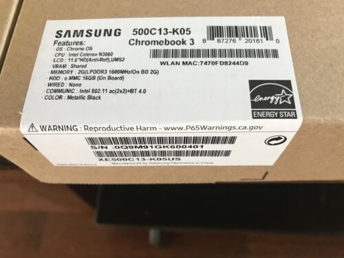 Samsung Chromebook 3 XE500C13 11.6in. See Photos For All Specs