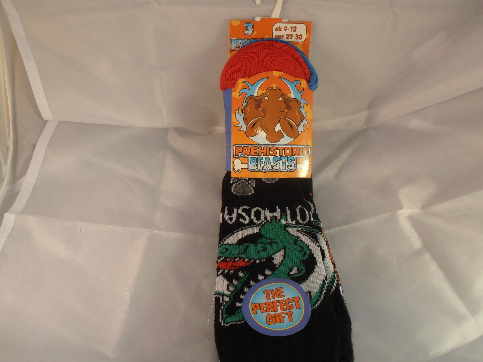 12 Pairs Boys Prehistoric Beasts Design Socks Sizes 3-6