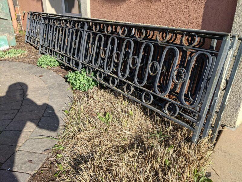 Vintage MID CENTURY MODERN Wrought Iron Fence 55