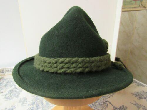 Vtg. Green Felt Imported German Traditional Style Alpine Hat