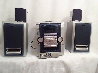 Aiwa CX-NAJ24 Stereo Double Cassette Tape 3-Disc CD Radio 4 Speakers with Remote Aiwa Stereo Radio