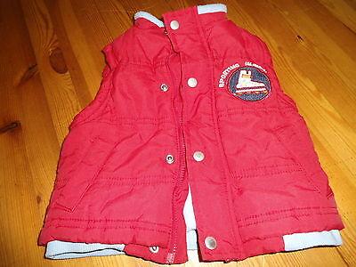 warme Weste rot mit hellblauem Fleece innen Jungen 6 Monate
