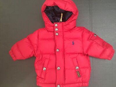Ralph Lauren Children's Kids Baby Hooded Down Puffer Jacket Coat Red NWT  6 Mos