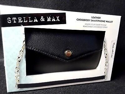 NIB Stella & Max Dusky Leather Crossbody Smart Phone Wallet Purse Remove Strap