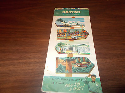 1955 Cities Service Boston Vintage Road Map