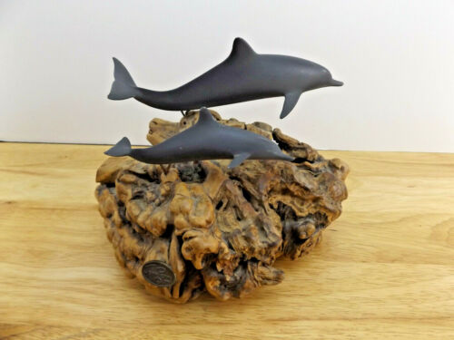 Vtg Burl Wood Driftwood Grey Dolphins Sculpture By John Perry