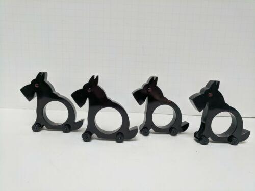 Scottie Dog Black Bakelite Type Napkin Rings 4-Piece Set with Red Eyes