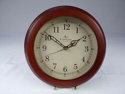 Wall Clock Redwood Tone First Time Mfg 8-1/2 Battery (Incl) Unique Metal Hands