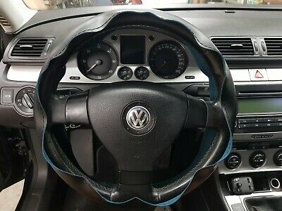 Coprivolante da Cucire cover in Pelle Nera / Filo Nero Per Auto Volante 38-40cm
