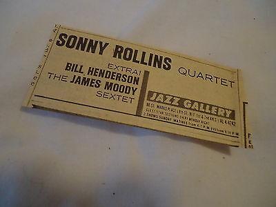 Sonny Rollins Quartet - concert Jazz Gallery NEW YORK  - 1962 newsprint ad