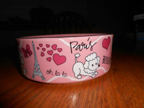 SMALL CERAMIC DOG BOWL- POODLE- FRENCH- PARIS- FANCY!